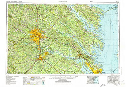 Richmond VA topo map, 1:250000 scale, 1 X 2 Degree, Historical, 1973, updated 1974, 22 x 32 IN - Tyvek