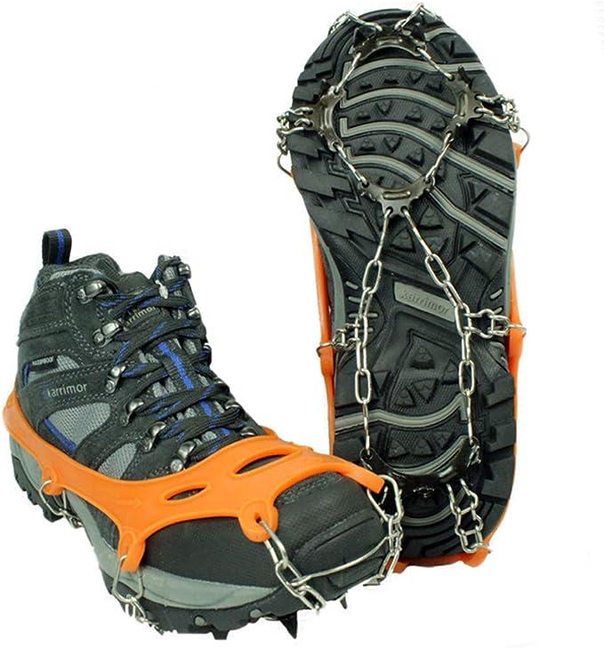 Tentock Crampones de Hielo Antideslizantes de 12 Dientes para Trekking, Crampones de Nieve de Acero Inoxidable, Tracción de Hielo para Botas