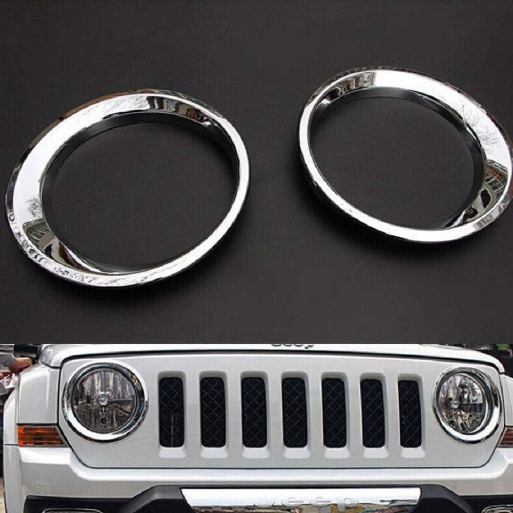 PAKCEEINC Chrome Styling ABS Car Exterior Head Light Lamp Decoration Cover Trim For 2011-2016 Jeep Patriot