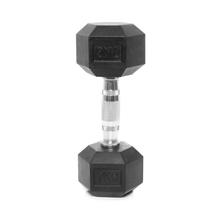 Bodypower - Cierre, Ergo mancuernas hexagonales de caucho - 7 kg ...