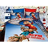 alvin et les chipmunks 3d cartoon parure de lit 100 coton draps de lit pour enfants parure de. Black Bedroom Furniture Sets. Home Design Ideas