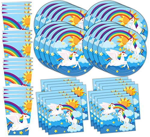 Rainbow Unicorn Pegasus Birthday Party Supplies Set Plates Napkins Cups Tableware Kit for 16 by Birthday Galore