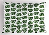 Ambesonne Green Leaf Pillow Sham, Tropical Jungle Leaves Palm Trees of Hawaii Watercolor Style Summer Nature, Decorative Standard King Size Printed Pillowcase, 36 X 20 inches, Green White