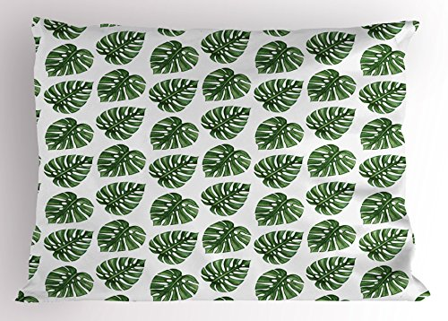 Ambesonne Green Leaf Pillow Sham, Tropical Jungle Leaves Palm Trees of Hawaii Watercolor Style Summer Nature, Decorative Standard King Size Printed Pillowcase, 36 X 20 inches, Green White by Ambesonne