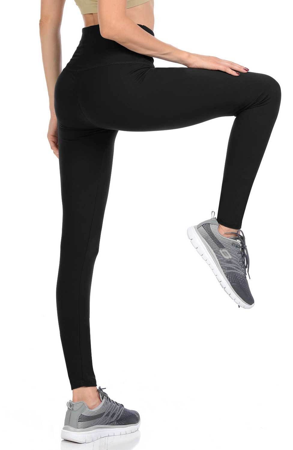 VIV Collection Regular Size Leggings Yoga Waistband Soft w/Hidden Pocket (Black)