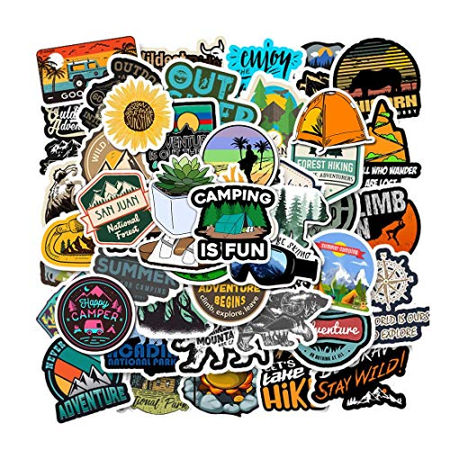 🥇 100 Pcs Outdoor Adventure Stickers Wilderness Nature VSCO Stickers Pack Hiking Camping Travel Waterproof Vinyl Decals for Water Bottle Hydro Flask Laptop Luggage for Adults Teens Girls