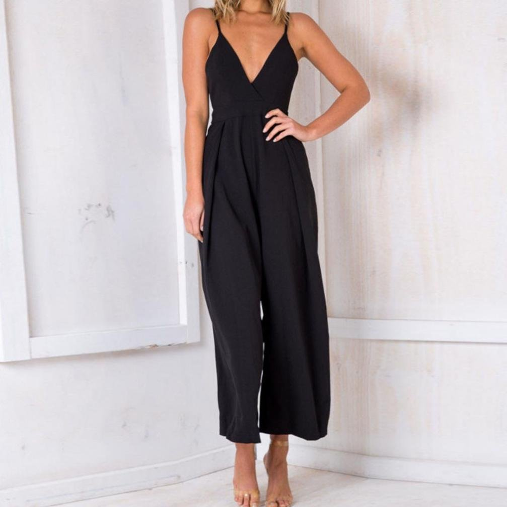 Sexy Playsuits,Women Party Deep V Backless Bowknot Jumpsuits Solid Wide Leg Loose Long Rompers (L, Black) by Leewos (Image #2)