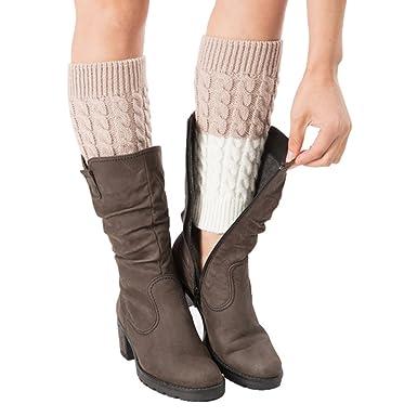 8fc8c583b82 SherryDC Women s Crochet Knit Boot Topper Cuffs Patchwork Leg Warmer Short  Socks at Amazon Women s Clothing store