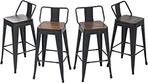 HAOBO Home Swivel Counter Bar Stools Modern Industrial Metal Barstools Dining Chair [Set of 4] (26