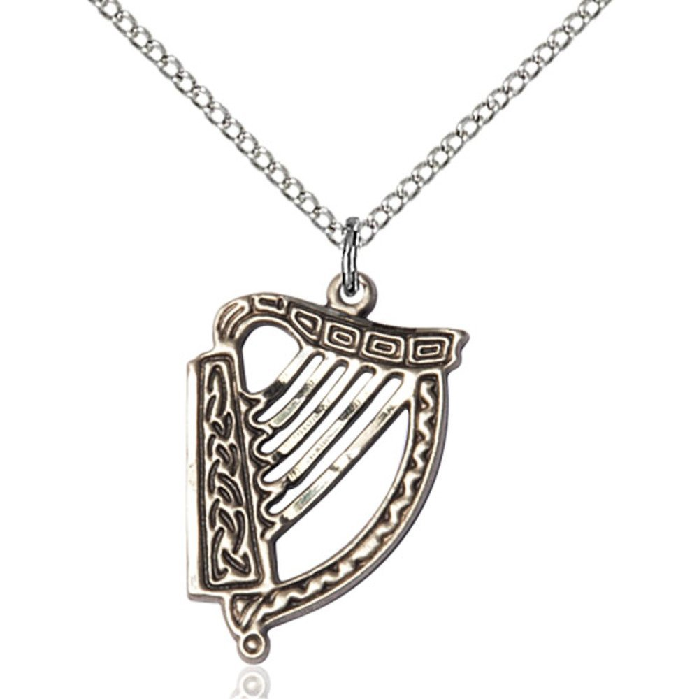 Sterling Silver Irish Harp Pendant 7/8 X 5/8 inches with 18 inch Sterling Silver Curb Chain Bliss Manufacturing 5103SS/18SS