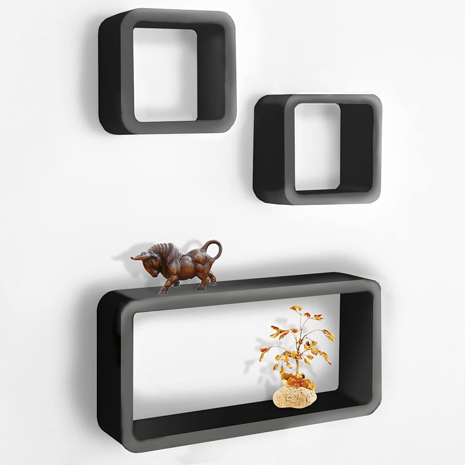 | Invisible Wall Mounting Set of 3 casa pura/® Floating Cube Shelves Available in 4 Colours White//Orange Oxford