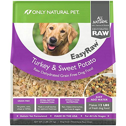 Only Natural Pet EasyRaw Human Grade Dehydrated Raw Dog Food Formula That Contains Real Wholesome Nutrition, Low Glycemic, Non-GMO - Turkey & Sweet Potato Flavor - 2 lb Bag (Makes 12 lbs)