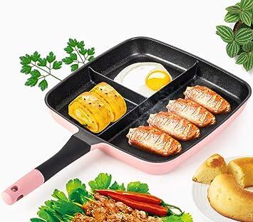 ZXMXY Sartén Desayuno Olla Maifan Piedra Sartén 3 Rejilla Pot,Pink: Amazon.es: Hogar