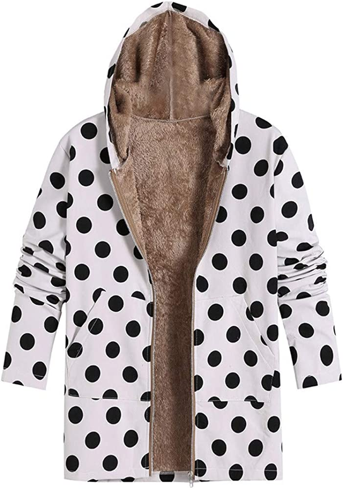 PXiong Womens Print Winter Hooded Outwear Dot Pockets Fashion Oversized Coat