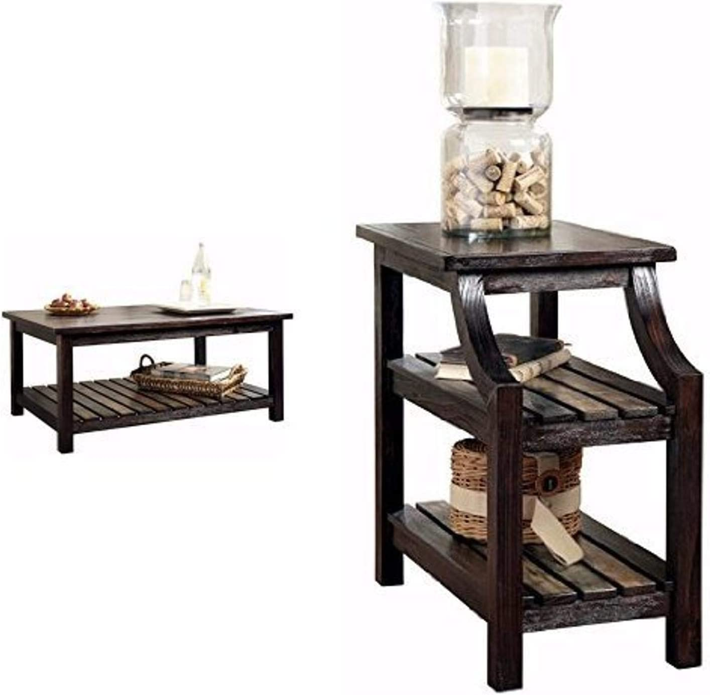 Ashley Furniture Signature Design - Mestler Living Room Table Set - Coffee Table with Two Double-Shelf End Tables - Rustic Brown