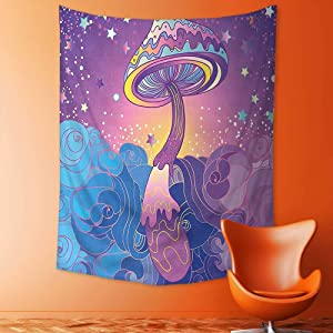 adshdjfbdjh2 Tapestry Wall Hanging Mysterious Tapestry Mushrooms Psychedelic Hallucination Vibrant 60s Style Hippie Purple Light Blue Yellow Tapestry Art for Home Decor 150x200 cm