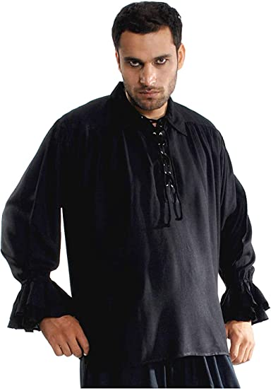 Pirategothic Mens Medieval Renaissance Pirate Shirt Costume