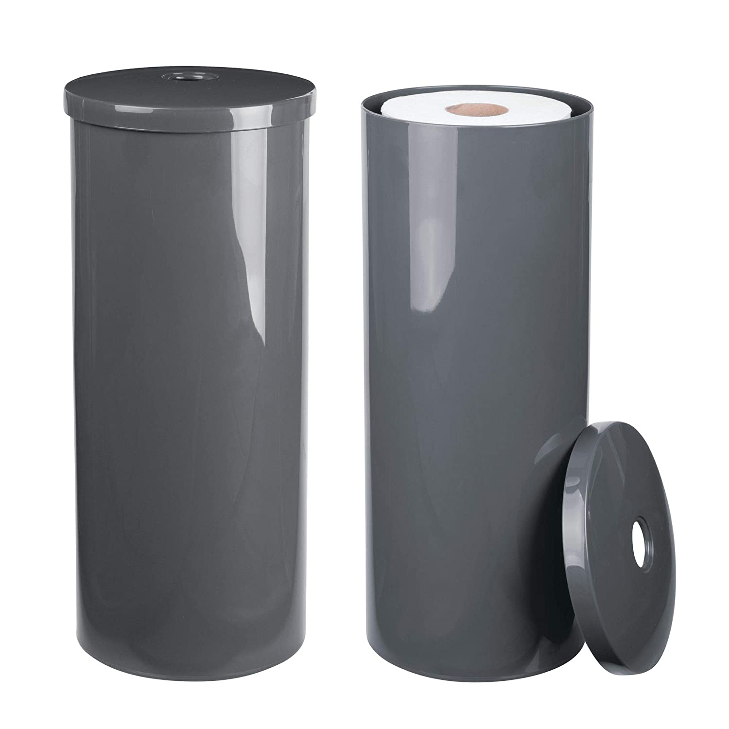 mDesign Modern Plastic Toilet Tissue Paper Roll Holder Canister Stand with Lid - Vertical Bathroom Storage for 3 Rolls of Toilet Tissue - Holds Large Mega Rolls - 2 Pack, Slate Gray MetroDecor