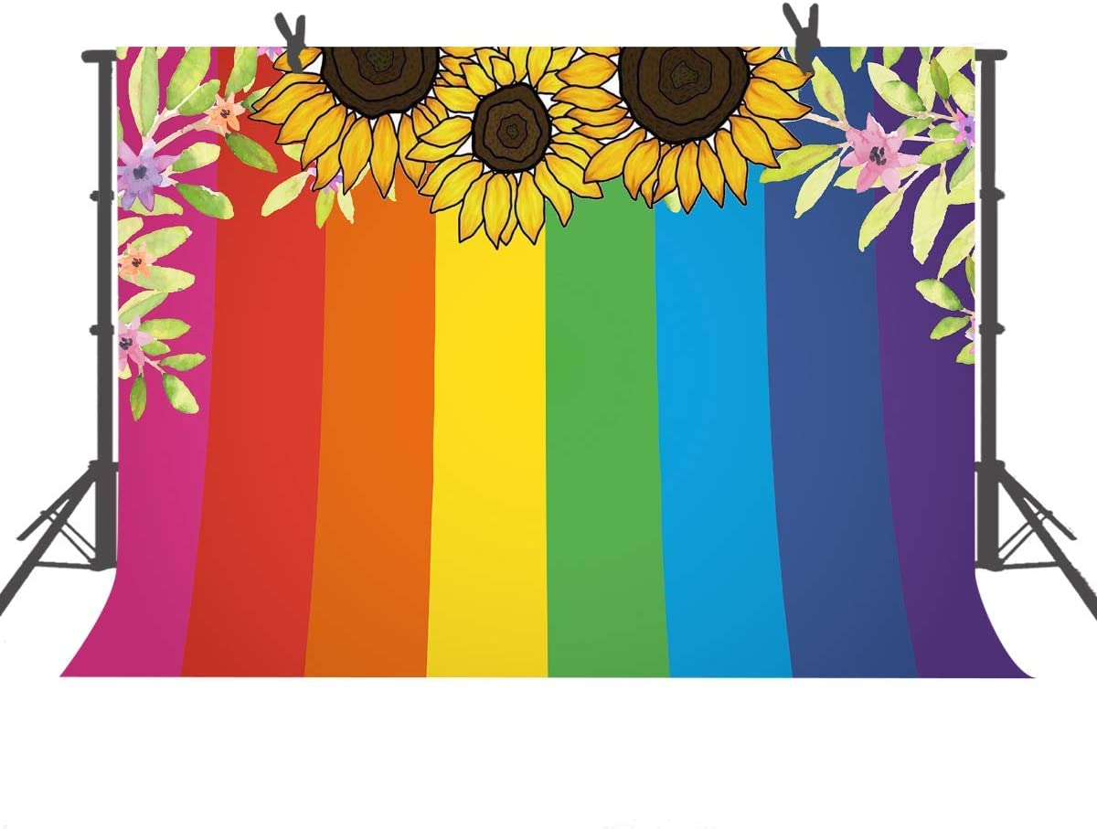10x8ft Colorful Painting Background Rainbow Lines Photography Backdrop Portrait Photo Props LHFU359