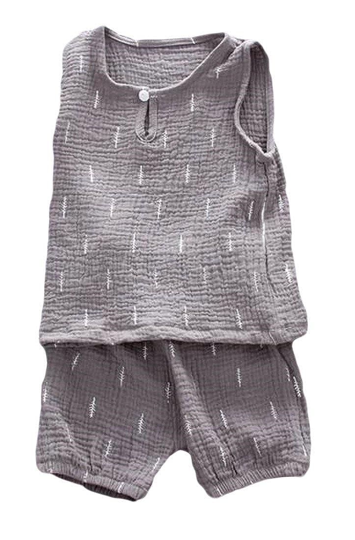 Etecredpow Little Boys Fashion Cotton Two-Piece Print Sleeveless Shorts