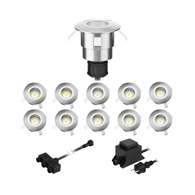 parlat LED Boden-Einbauleuchte Atria für außen Aluminium kalt-weiß, je 14lm, IP65, 40mm Ø, 5er Set 40mm Ø LEDs Com GmbH LC-EL-030-W