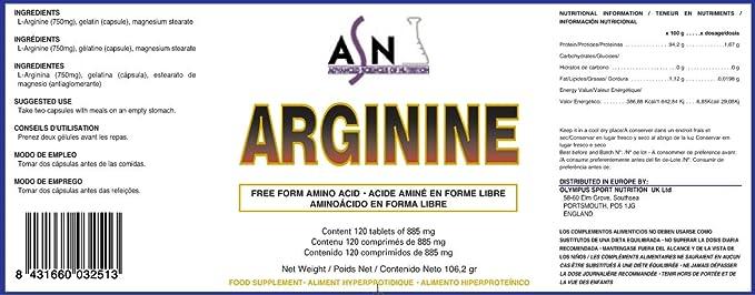 ASN - ARGININA - Tamaño - 120 cáps. 750mgs.: Amazon.es: Salud ...