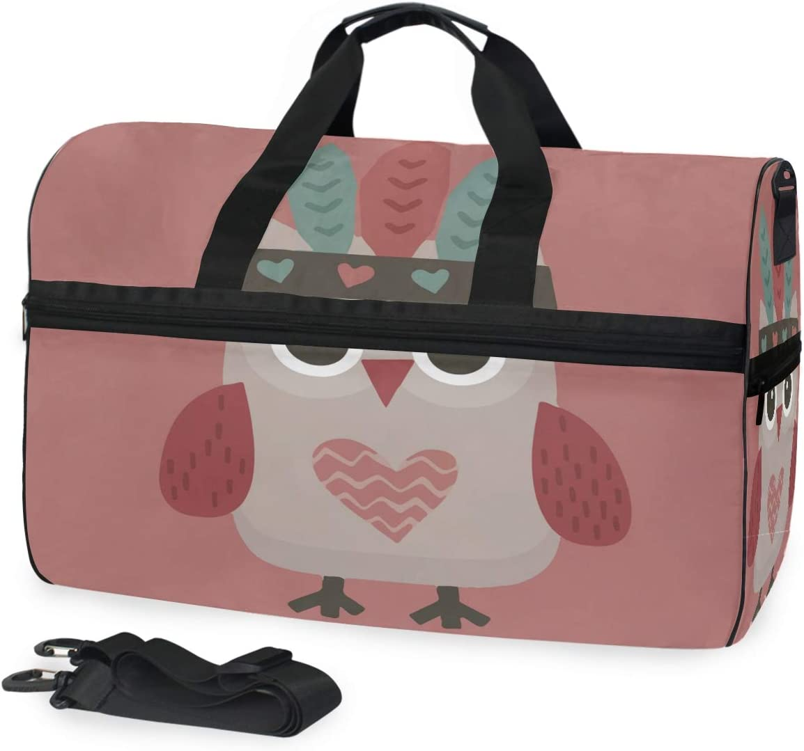 MUOOUM Owl Love Heart Tribe Large Duffle Bags Sports Gym Bag with Shoes Compartment for Men and Women