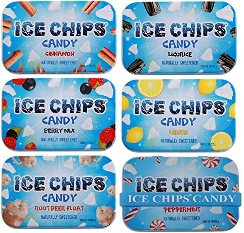 (ICE CHIPS Xylitol Candy 6 Tins (Variety Pack); Low Carb, Gluten Free - includes ICE CHIPS BAND as)
