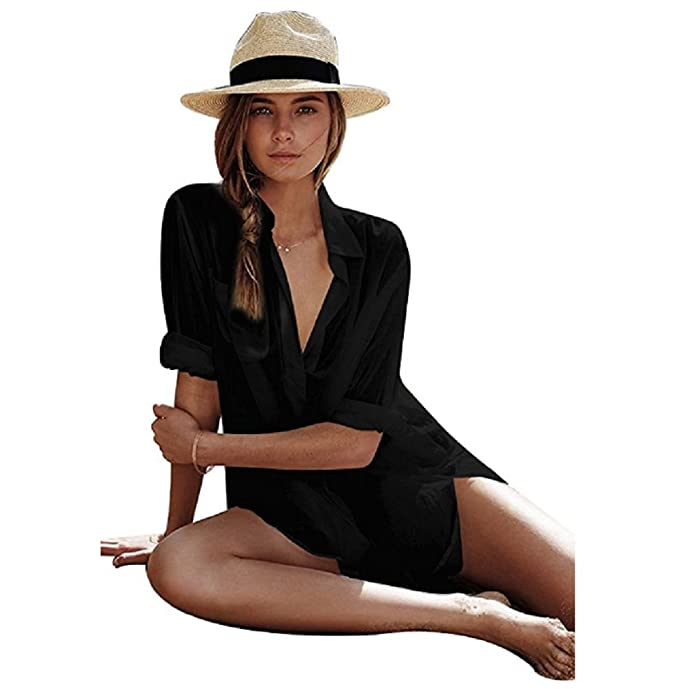 fc75120b4c NFASHIONSO Women s Sexy Deep V Neck Swimsuit Cover Up Beachwear Dress