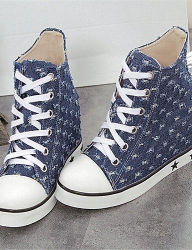 XZZ  Damenschuhe - Stiefel - - - Lässig - Denim Jeans - Flacher Absatz - Rundeschuh - Blau B01L1GNMQ0 Sport- & Outdoorschuhe Umweltfreundlich 837119