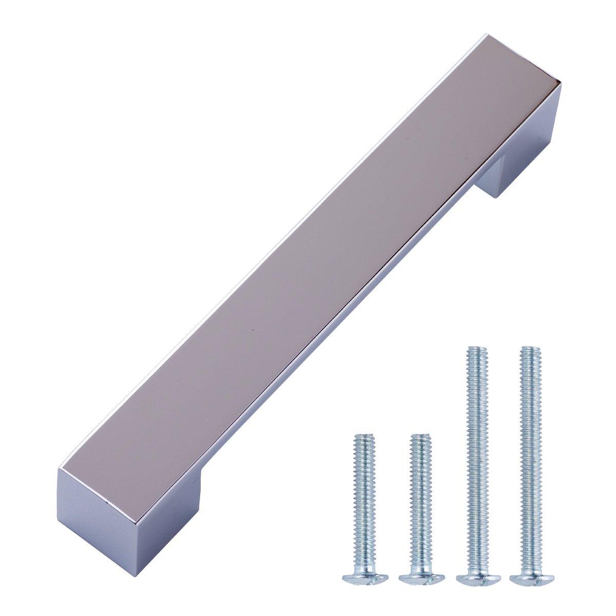 Basics - Tirador moderno y corto para armario, 22,6 cm de longitud (19,2 cm de centro del orificio), Bronce antiguo, Paquete de 10 AB3402-OR-10