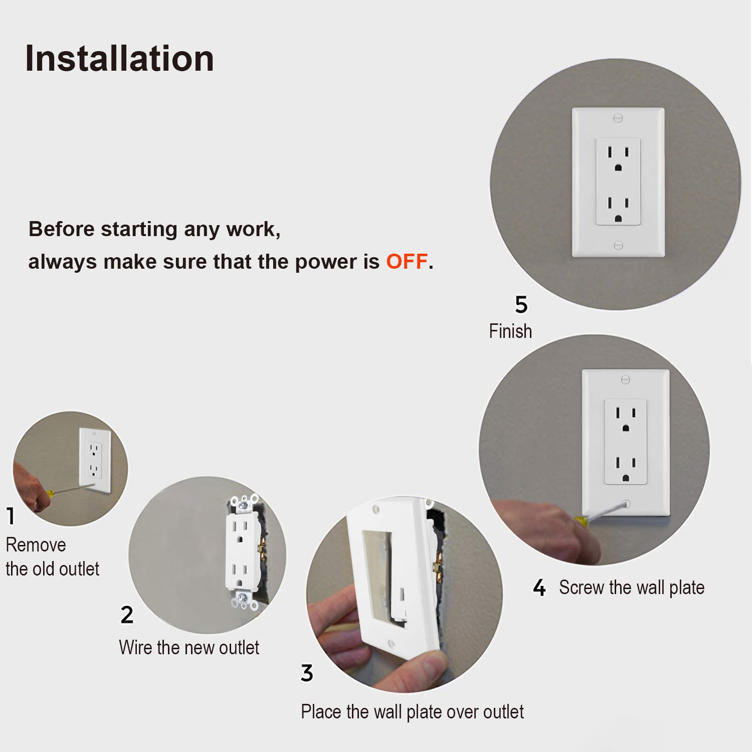 BESTTEN Wholesale, 50 Pack of 15A Standard Decor Outlets with Wall Plates, Decorative Electrical Receptacle with Covers, None-Tamper-Resistant, Residential and Commercial Grade, UL Listed, White by BESTTEN (Image #4)