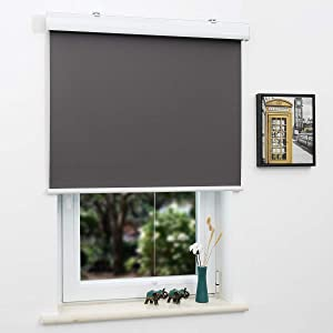 SUNFREE Blackout Window Shades Cordless Roller Shades for Window and Door, Home and Office, Gray(Upgrade Version), 46