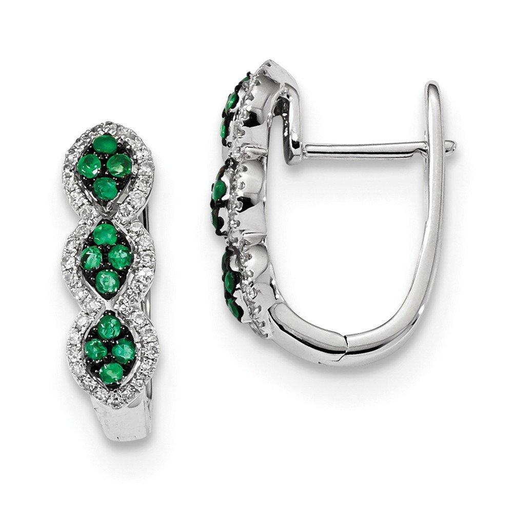 5.17mm 14k White Gold Diamond and Emerald Earrings