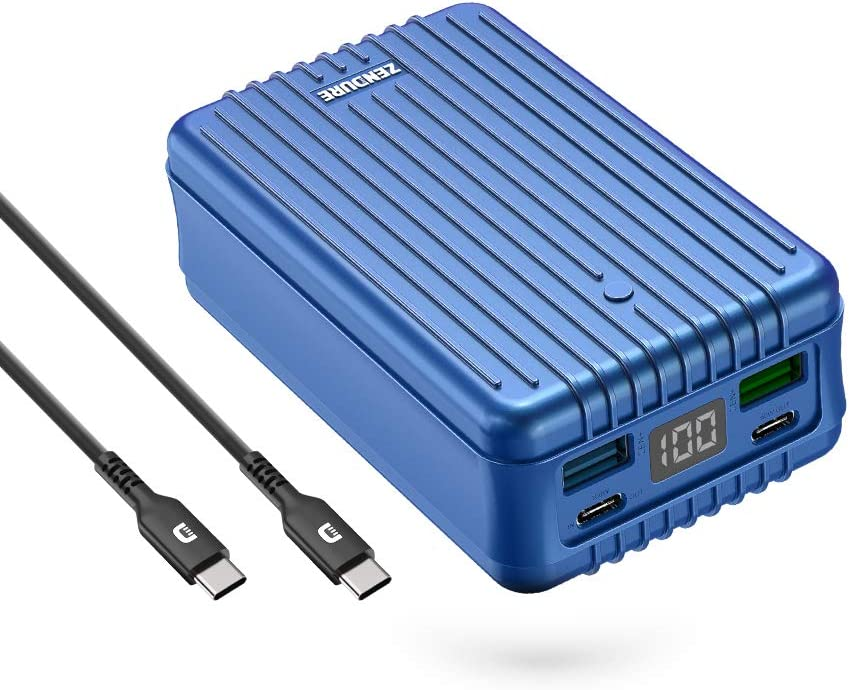 Zendure Power Bank, SuperTank 27,000mAh External Battery with Dual USB-C PD (100W&60W) and USB-A (15W&18W), QC 3.0 Portable Charger for USB-C laptops, MacBook, iPad Pro, Switch, etc.-Blue