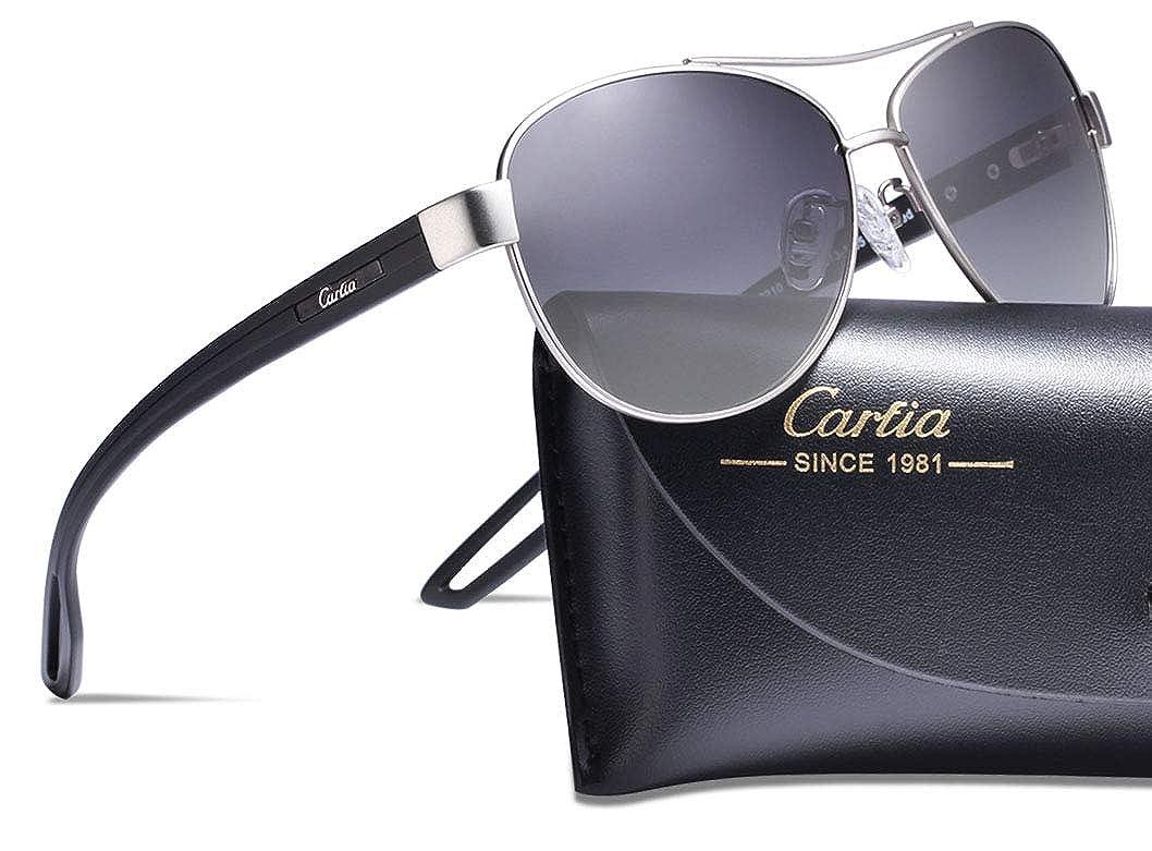 Carfia Mujeres Hombre gafas de sol Aviador polarizado de conducción con el caso - UV 400 Protección