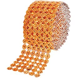 Mandala Crafts Bling Sparkling Acrylic Diamond Rhinestone Crystal Mesh Wrap Ribbon Roll for Cake Vase Centerpiece Party Wedding Decoration (Flower Pattern 4 Inches 10 Yards, Orange)