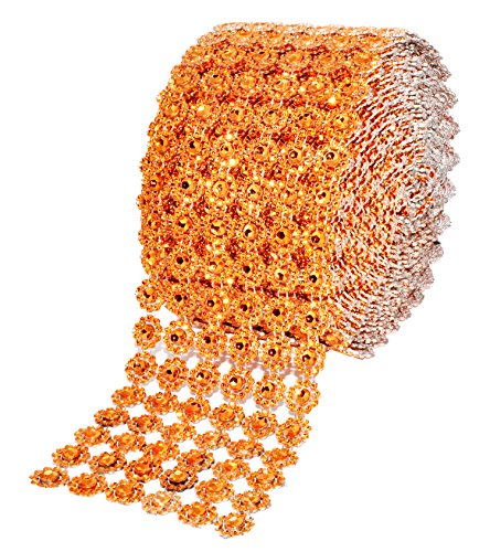 Rhinestone Orange (Mandala Crafts Bling Sparkling Acrylic Diamond Rhinestone Crystal Mesh Wrap Ribbon Roll for Cake Vase Centerpiece Party Wedding Decoration (Flower Pattern 4 Inches 10 Yards, Orange))