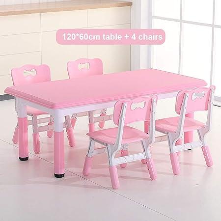 mesa infantil y sillas para pequeños de 2 a 8 años de edad, mesa plástica de