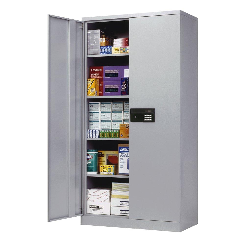 Sandusky Lee KDE7236-05 Dove Gray Steel SnapIt Storage Cabinet 72 Height x 36 Width x 18 Depth 4 Adjustable Shelves Keyless Electronic Lock