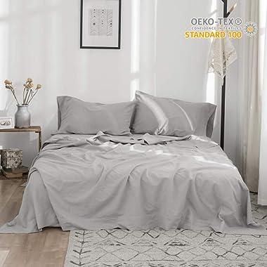 Simple&Opulence Belgian Linen Sheet Set 4PCS Stone Washed Solid Color(King,Grey)