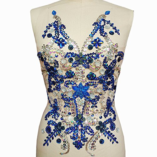 Noble Pure Handmade Beaded Crystal AB Sew on Rhinestones with Stones Sequins Beads Applique Designs Patches Sewing for DIY Wedding Dress Trim 14x19 inch (Blue+AB)