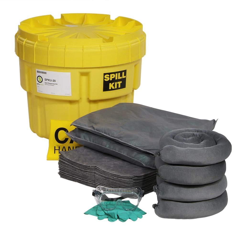 SpillTech Universal Overpack Salvage Drum Spill Kit, 20 Gallon, 43 Pieces (SPKU-20): Industrial Spill Response Kits: Industrial & Scientific
