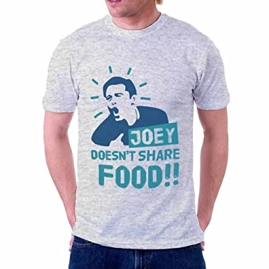 The Souled Store FRIENDS Joey Doesn't Share Food!! Tv Show Printed Light  Grey Melange Cotton T-Shirt for Men Women and Girls