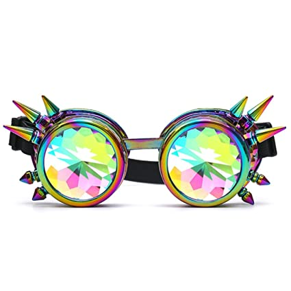 36f56c7066ad Susenstone Kaleidoscope Colorful Glasses Irregular Mirrored Lenses Street  Fashion Metal Frame Unisex for Rave Festival Party EDM (Multicolor)   Amazon.ca  ...