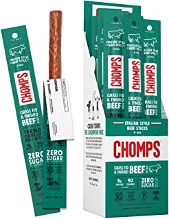product image for CHOMPS Grass Fed Italian Style Beef Jerky Snack Sticks, Keto, Whole30, Paleo, Gluten Free, Sugar Free, Low Carb, AIP Diet Compliant, 90 Calories,1.15 Oz, Pack of 24