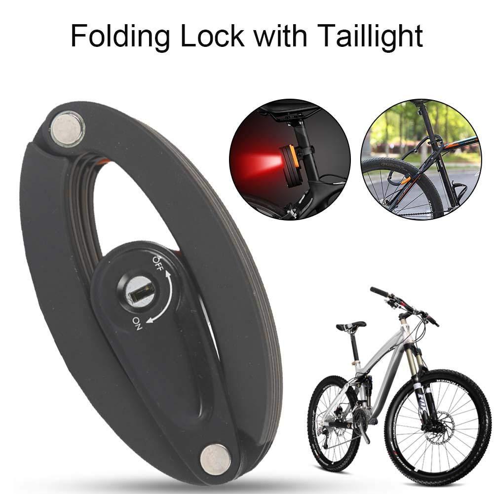 Bicicleta Cerradura Plegable, Bicicleta Plegable Cerradura Plegable Cable de Cadena de Metal Cerradura de Seguridad Pegatina Reflectante para Mountain ...
