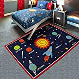 weltall kinderteppich 80 x 120 cm spielteppich teppich universum sterne mond planeten. Black Bedroom Furniture Sets. Home Design Ideas