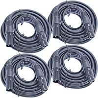 4 pack 25 Foot XLR Mic Cable With Male to Female Servicable Connectors