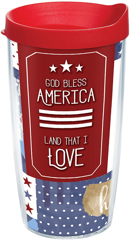 Tervis 1263560 God Bless America Insulated Tumbler with Wrap and Red Lid, 16oz, Clear